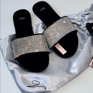 Victoria's Secret Embellished Velvet Slides